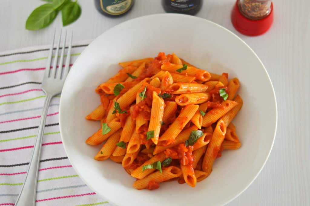 A top shot photo of Penne all'Arrabbiata