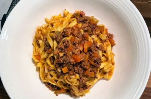 A traditional Ragù alla Bolognese recipe top shot photo