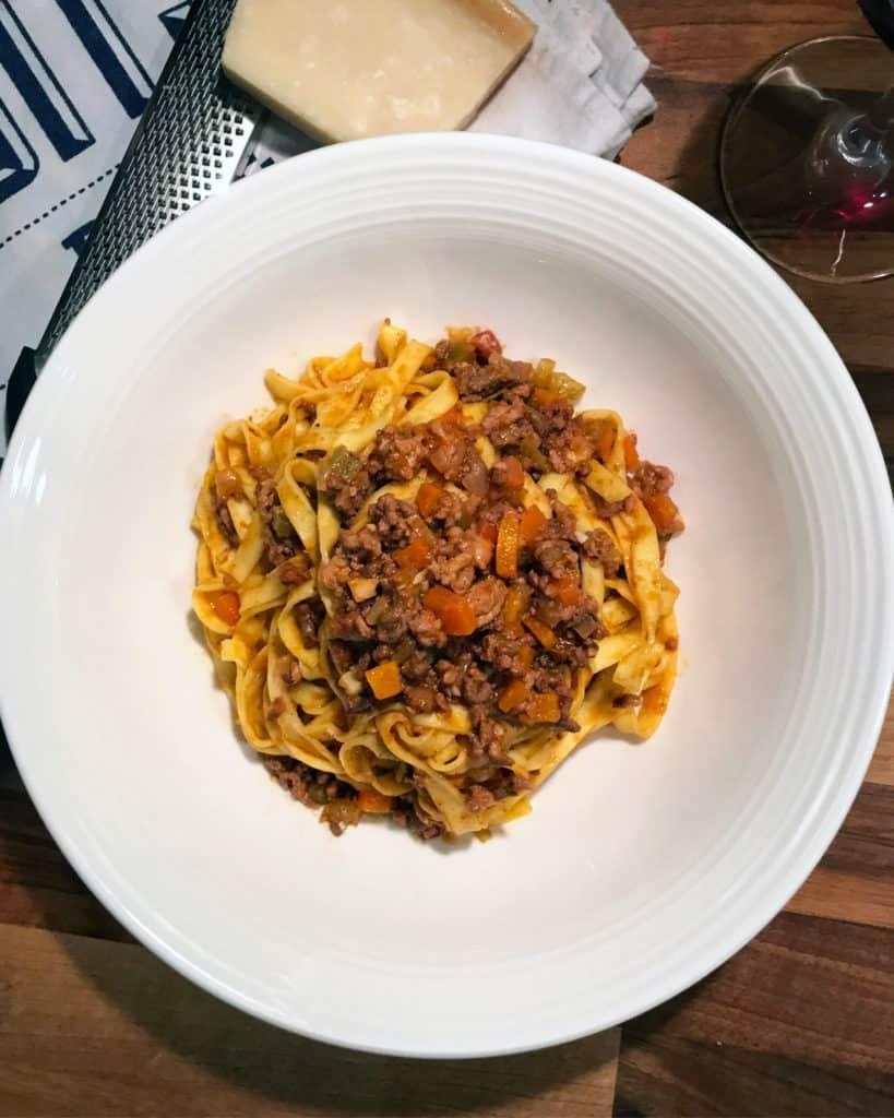 A traditional Ragù alla Bolognese recipe top shot photo