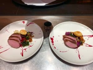 A snap of my restaurant food containing Salt Aged Duck Breast - Beetroot, Duck Fat Potato, Pickled Gorillas & Mixed Kale