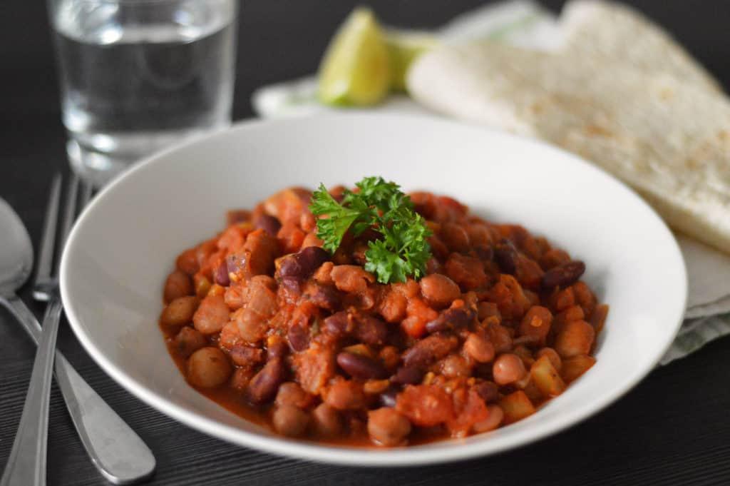 Side shot photo of my mixed bean chilli recipe