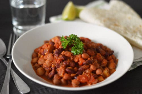 Side shot photo of my mixed bean chilli recipe