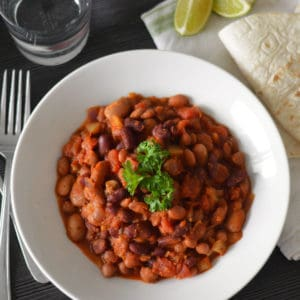Top shot photo of vegan mixed bean chilli