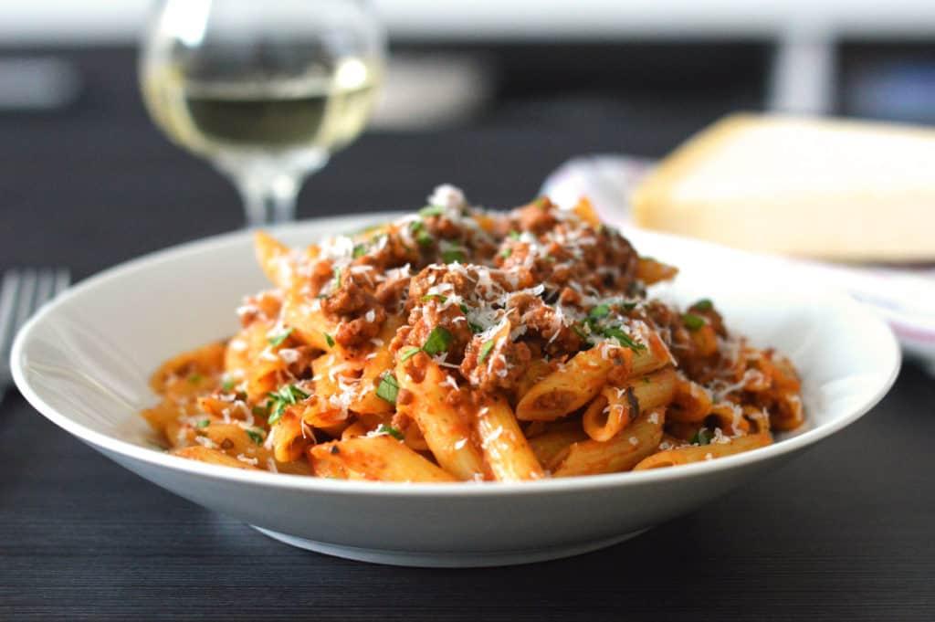 Side shot of my Italian Sausage Pasta recipe