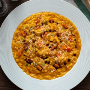 Photo of my Pumpkin Risotto recipe with parmesan in the background