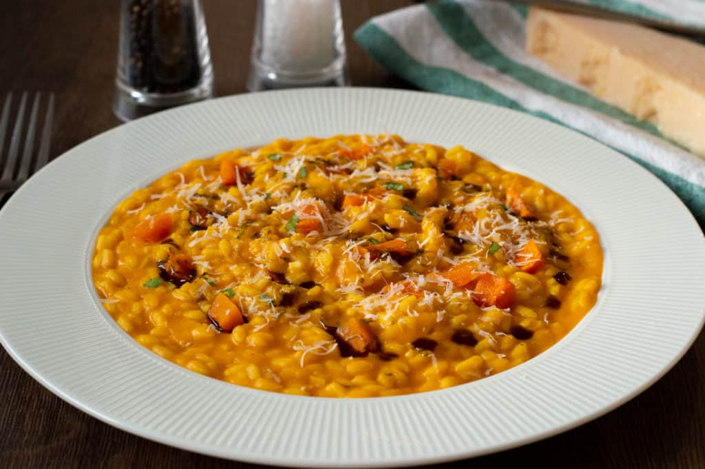 A side photo of Pumpkin Risotto