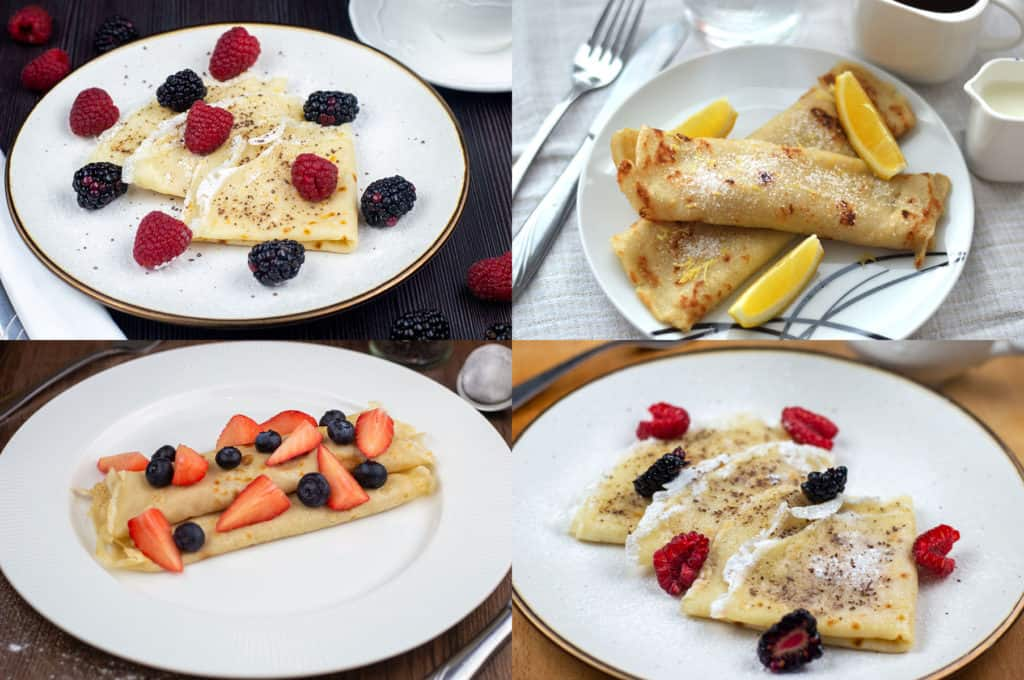 Photo of 4 different batches of Vegan Crepes