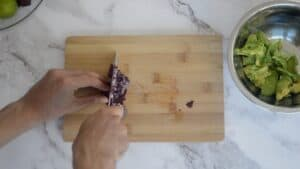 Dicing a red onion
