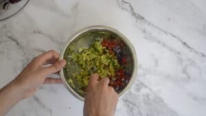 Mixing together avocado, tomato and onion in a mixing bowl