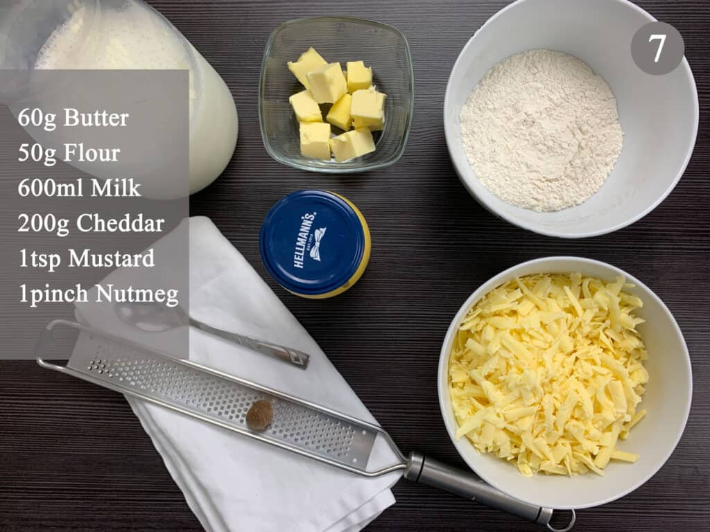 All the cheese sauce ingredients measured and in bowls