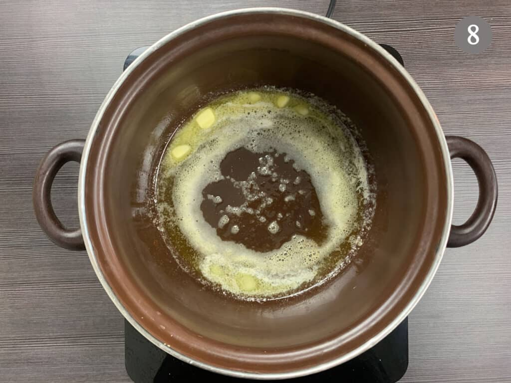 Melting butter in a large pot