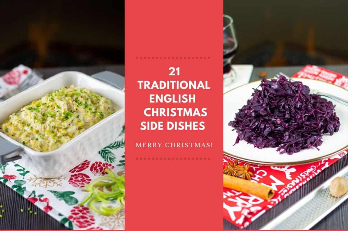 Two traditional english christmas sides of creamed leeks and braised red cabbage