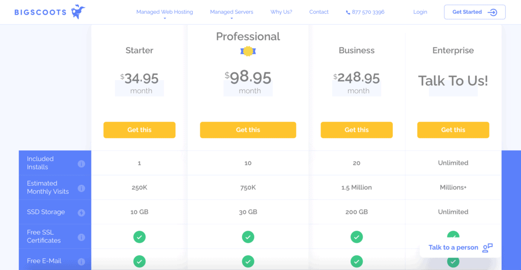 Bigscoots web hosting price plan