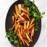 Roasted parsnips on a plate