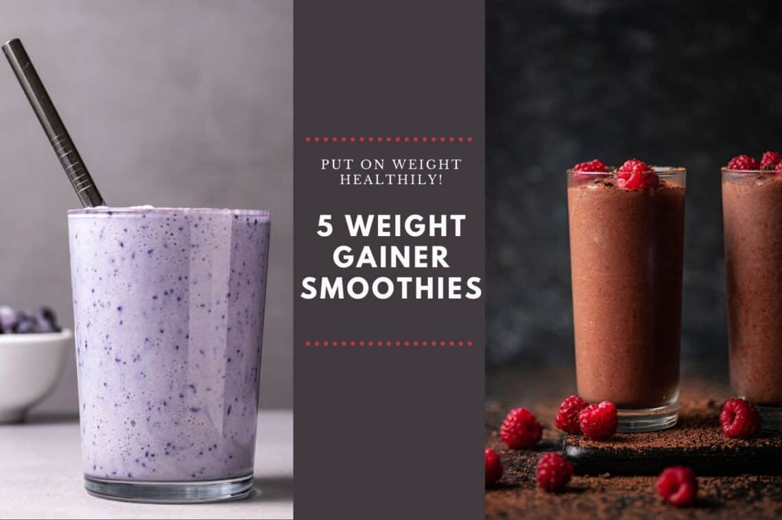 Weight gainer smoothies in tall glasses