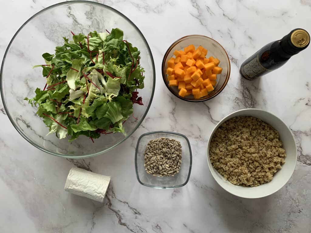 All the ingredients for the quinoa, butternut squash & goats cheese salad