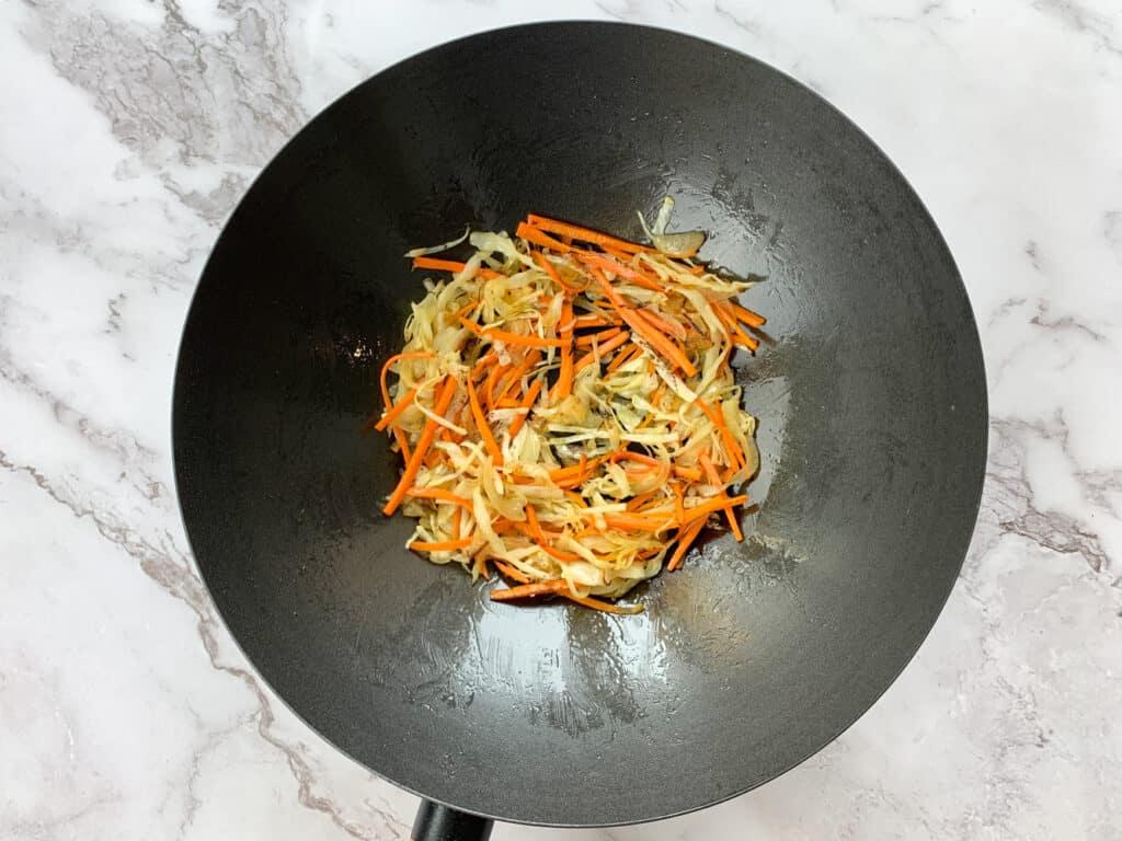 Stir fried vegetables in a wok