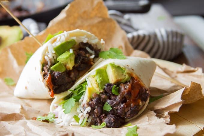 Black bean and avocado burritos