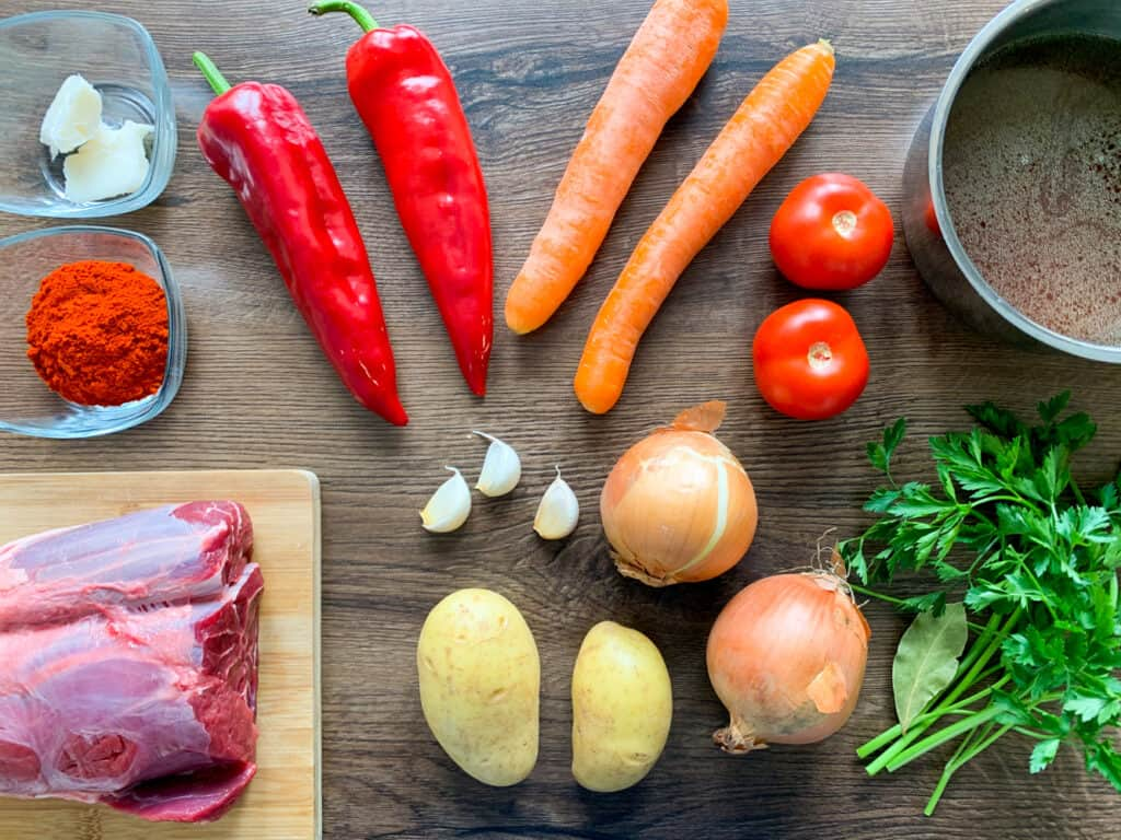 All the ingredients for the Slow Cooker Goulash