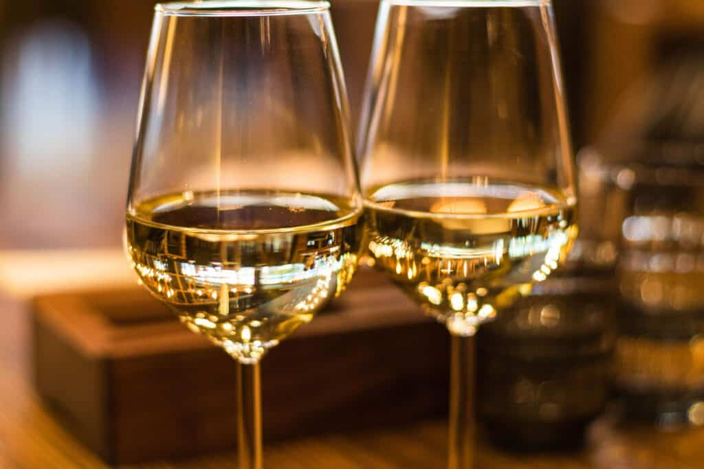 White wine in wine glasses